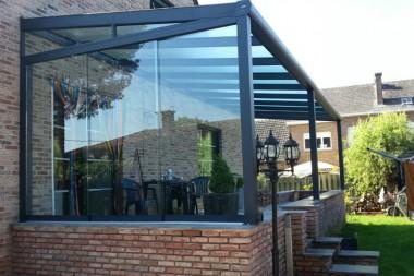 Terraspro Pergola - Modern Mat Antraciet met Glazen Schuifdeuren